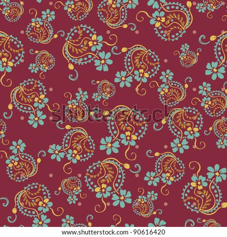 Seamless floral pattern. Flowers texture, paisley pattern Fashionable modern wallpaper or textile  Vintage