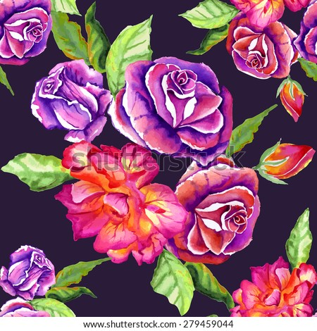 Seamless floral pattern. Flowers texture. red roses - stock vector