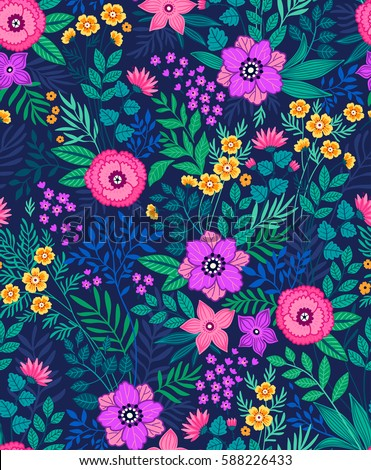 Attractive Seamless Floral Pattern For Design. Small Scale Flowers And Leaves. Dark  Blue Background
