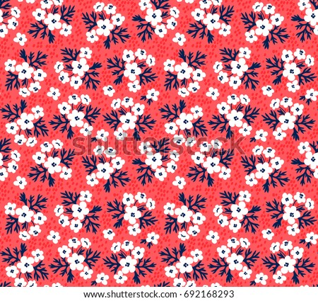 Seamless Floral Pattern For Design Small Scale White Flowers And Leaves Red Background