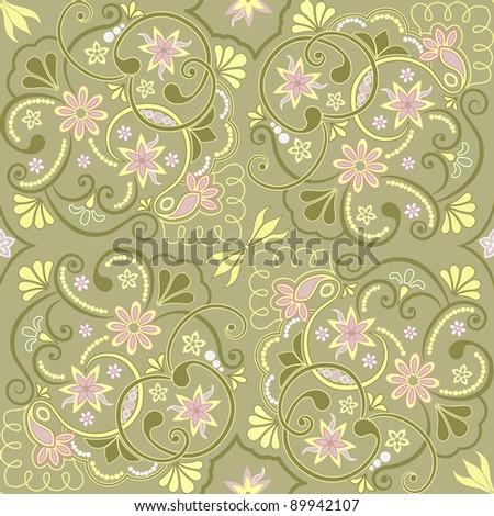 Seamless floral pattern for design, vector Illustration - stock vector