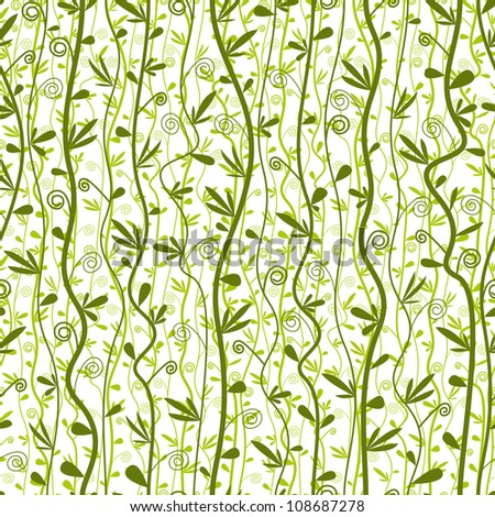 Seamless  floral pattern, green and summer seasonal vector background. - stock vector