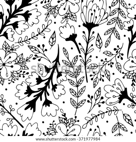 Seamless floral pattern. Hand drawing doodle. Vector illustration