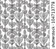Seamless floral pattern, hand drawn vector background. - stock vector