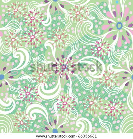 Seamless floral pattern in cartoon style - stock vector