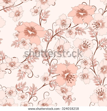 seamless floral pattern in pink soft colors, vector illustration - stock vector