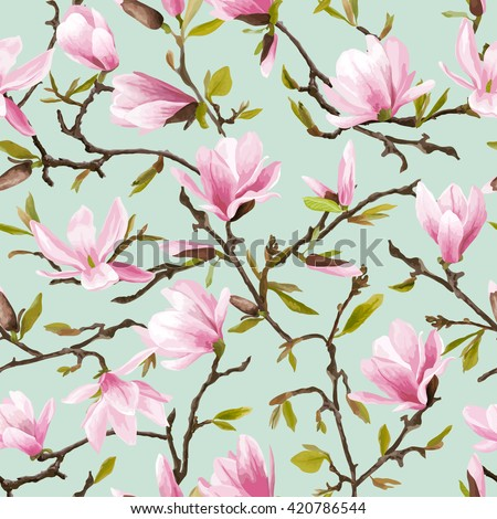Seamless Floral Pattern. Magnolia Flowers and Leaves Background. Exotic Flower. Vector - stock vector