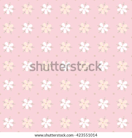 Seamless Floral Pattern on light pink background