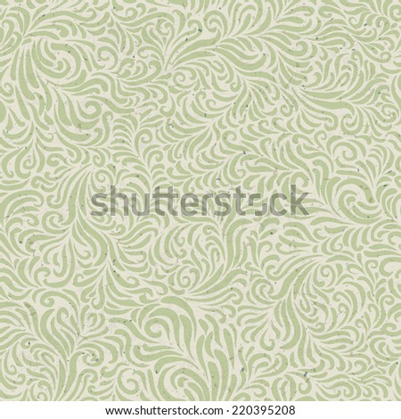 Seamless floral pattern on recycled paper texture. Vector - stock vector