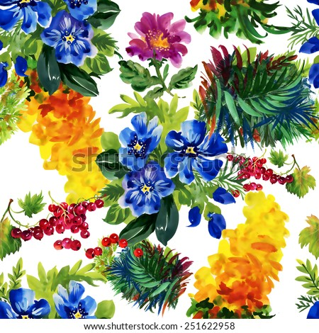 Seamless floral pattern on white background with colorful garden flowers vector illustration - stock vector