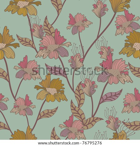 seamless floral pattern. retro background - stock vector