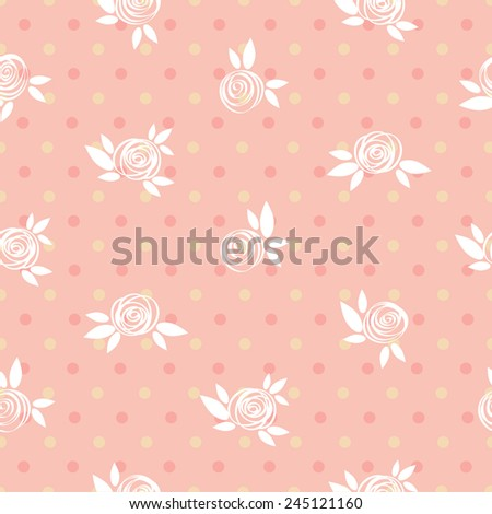 Seamless floral pattern, roses and circles, vintage illustration. - stock vector