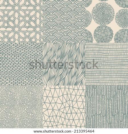 Seamless floral pattern set, vector illustration.  - stock vector