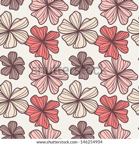 Seamless floral pattern. Stylish repeating texture. Delicate hand drawn design.