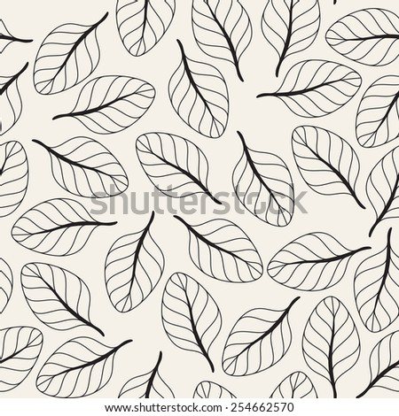 Seamless floral pattern. Stylish repeating texture. Repeating texture with randomly disposed leaves - stock vector