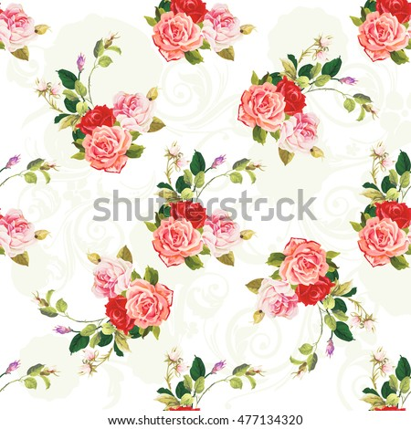 Seamless floral pattern three rose Vector Illustration EPS8