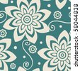 seamless floral pattern, vector background - stock vector
