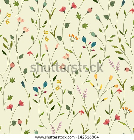 Seamless floral pattern. Vector background. - stock vector