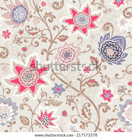 Seamless floral pattern. Vector background. Abstract texture with flowers. - stock vector
