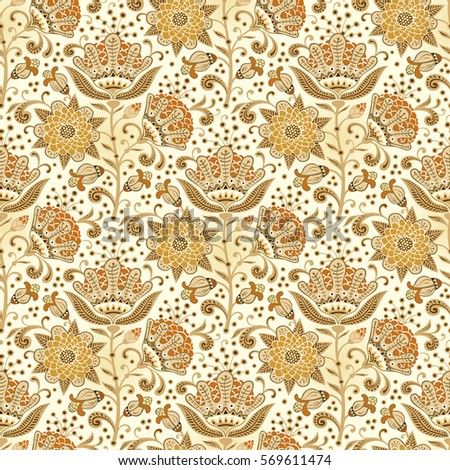 Floral Seamless Pattern Paisley Ornament Vector Stock Vector 507199912 ...
