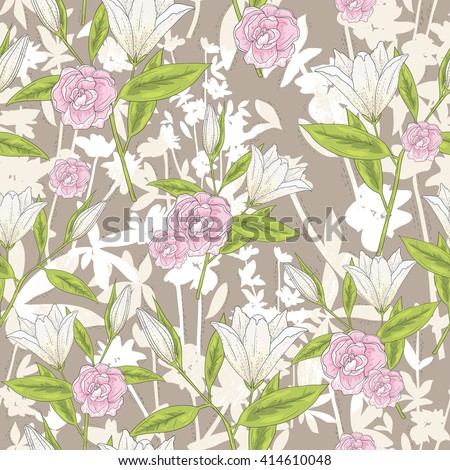 Seamless floral pattern. Vector background with lilly flowers and roses. - stock vector