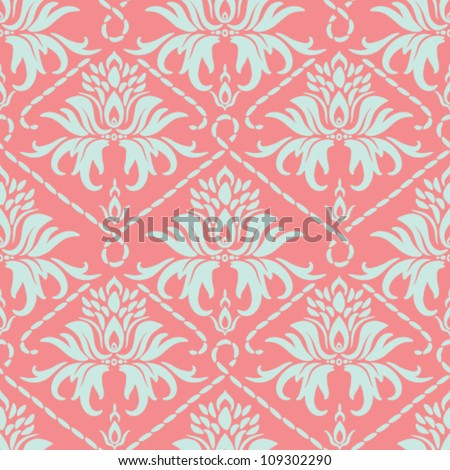 Seamless floral pattern. Vector vintage damask background. - stock vector