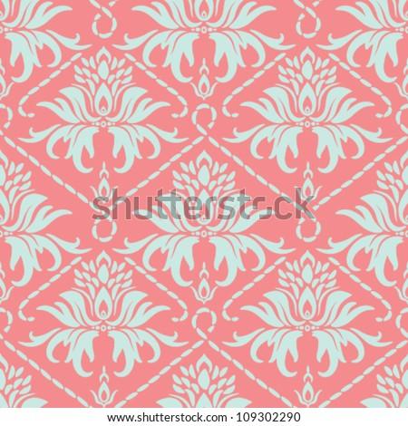Seamless floral pattern. Vector vintage damask background. - stock vector