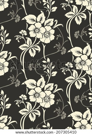 Seamless floral pattern, vintage background - stock vector