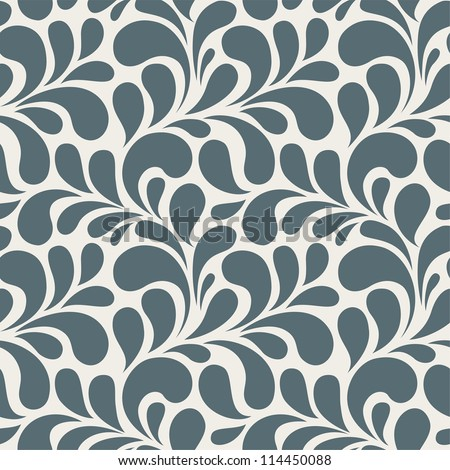 Seamless floral pattern. Vintage seamless background with blue leaves - stock vector