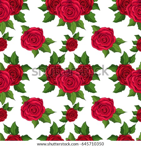 Seamless Floral Pattern Wallpaper With Red Roses On White Background