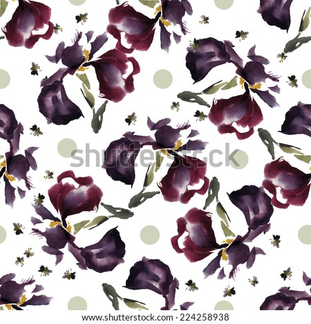 Seamless floral pattern watercolor irises and circles, the style of oriental traditional painting. - stock vector