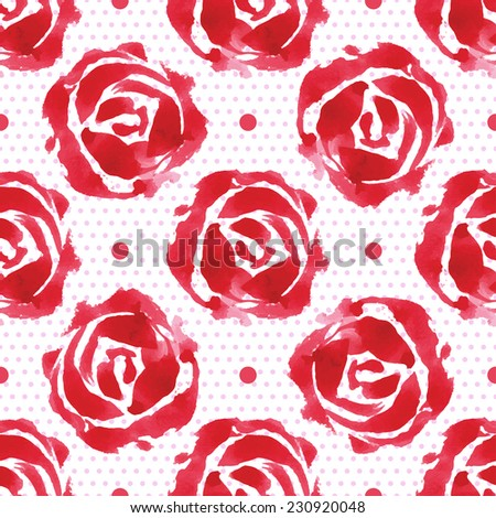 Seamless floral pattern watercolor roses and and small circles, vintage illustration.  - stock vector