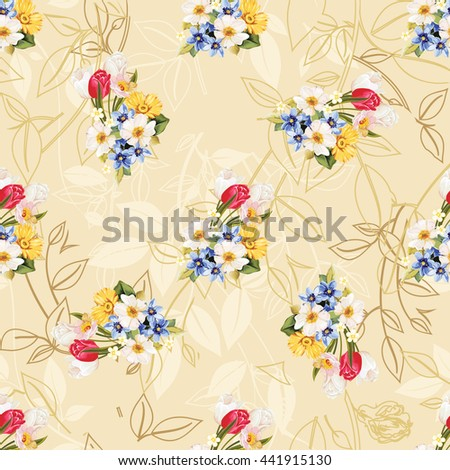 Seamless floral pattern white and tulip Vector Illustration EPS8 - stock vector