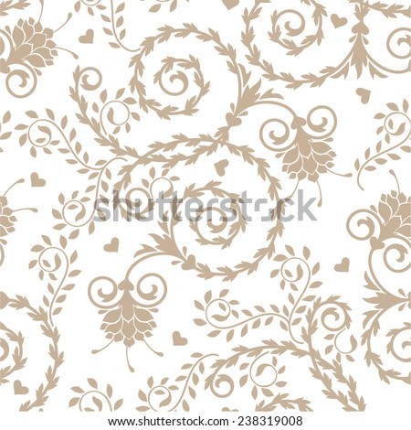 Seamless floral  pattern with baroque ornamental elements. Can be used for cards, invitations, fabrics, wallpapers, scrap-booking, ornamental template for design and decoration, etc - stock vector