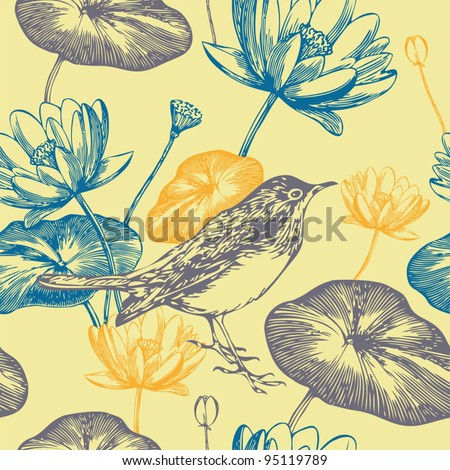 Seamless floral pattern with bird and water lilies