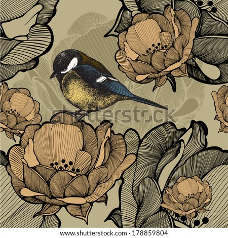 Seamless floral pattern with bird titmouse. Vector illustration. - stock vector