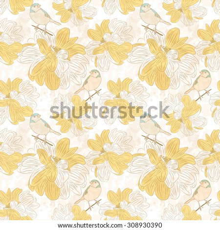 Seamless floral pattern with birds. - stock vector