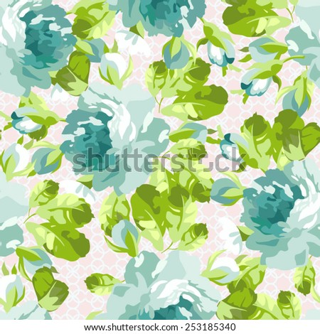 Seamless floral pattern with blue rose,