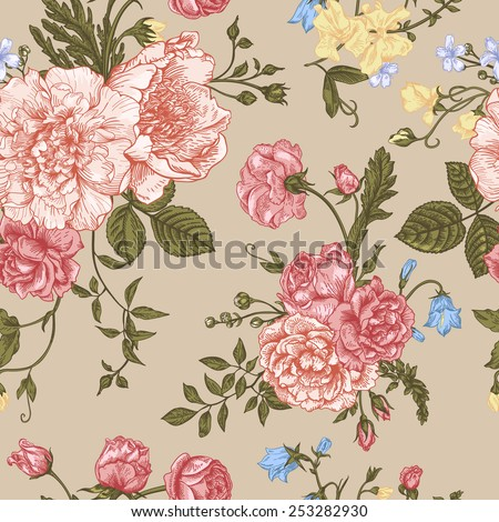 Seamless floral pattern with bouquet of  colorful flowers on a beige background. Peonies, roses, sweet peas, bell. Vector illustration. - stock vector