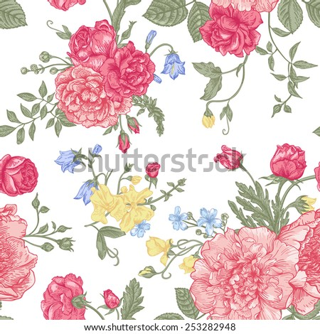 Seamless floral pattern with bouquet of  colorful flowers on a white background. Peonies, roses, sweet peas, bell. Vector illustration. - stock vector