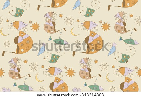 Seamless floral pattern with cats