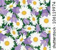 seamless floral pattern with  chamomile and bluebells meadow flowers - stock vector