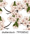 Seamless floral pattern with cherry flowers. Vector - stock vector
