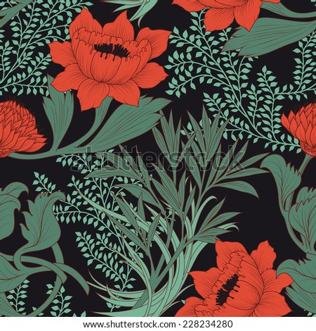 Seamless floral pattern with chrysanthemum and peonies. Vector illustration.  - stock vector
