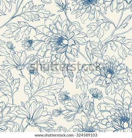 Seamless floral pattern with chrysanthemums. Blue lines on white background. Vector illustration.