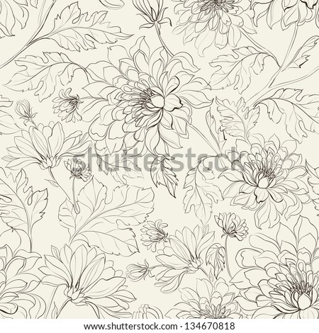 Seamless floral pattern with chrysanthemums. Vector illustration. - stock vector