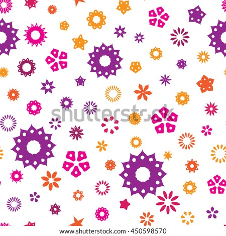 Seamless floral pattern with colorful flowers on a white background. Vector repeating texture. - stock vector