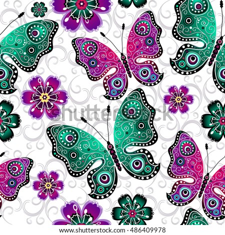 Seamless floral pattern with colorful gradient butterflies and flowers, vector