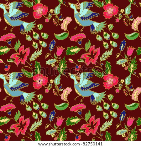 Seamless floral pattern with firebird on a dark background - stock vector