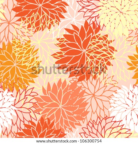 Seamless floral pattern with flowers of chrysanthemum - stock vector